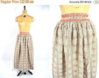 SUMMERS END SALE // 1970s skirt 70s vintage long floral heart print bohemian maxi smocked waist S/M
