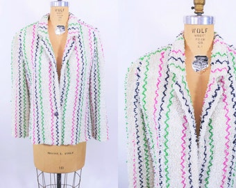 1980s jacket vintage 80s striped chenille colorful blazer top XL W 41""