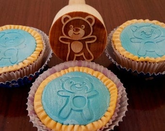 Fondant cookie stamp, cookie decorating stamp, cookie stamp, teddy bear design