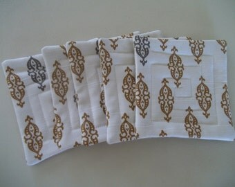 Fabric Coaster Set of 5, Regency, Neoclassical, Dwell Studio