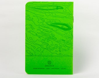 Mars Island Letterpress Notebook Green - Pack of 3