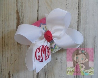 Custom Boutique Monogrammed Three Initial Hairbow---Personalized---Valentine's Day Hair Bow---Great Gift
