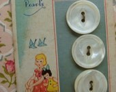 One Antique Shell Button Card with Three Buttons