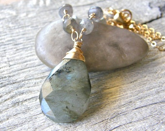 Labradorite Pendant and Gold Chain Necklace, Grey Stone Pendant Necklace