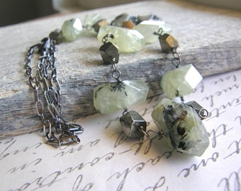 Green Prehnite and Pyrite Extra Long Sterling Silver Chain Necklace