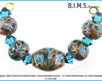 Big Hole Beads Glass, 5pc Silvered Blue, Green, Amber, Purple Glass Olive Focal & 4 Round Bead Set, Made to Order, Bims Bangles