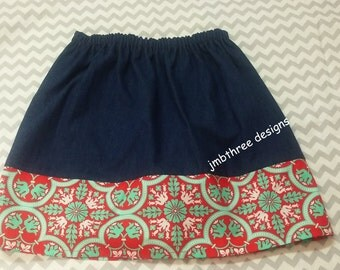 SALE Denim red medallion skirt size 10y  Ready to Ship
