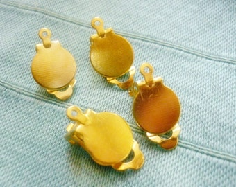 4 pc Gold plated Earring Clips with Loop Findings