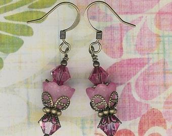Sugar Sweet Swarovski Rose Pink Brass Flower Earrings, Pink Tulip Earrings, Pink Lucite Flower Earrings, Rose Swarovski Crystal,Pretty Pink