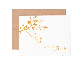 Boxed Cards - Fall Tree Thank You Seeded Letterpress Greeting Cards - Boxed Set | Thank You Cards | Plantable Cards | Thanks