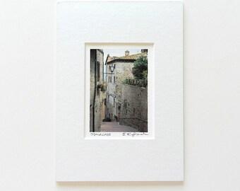 Tiny Art Print, Italian Steps Travel Photography, Stone Walls Photo,Italian Architecture,Neutral Decor,Italy Art,5x7 Matted Stocking Stuffer