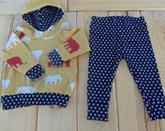 Sized 6-9 month Elle Pool Design Baby Boy Scuba Hoodie with Leggings