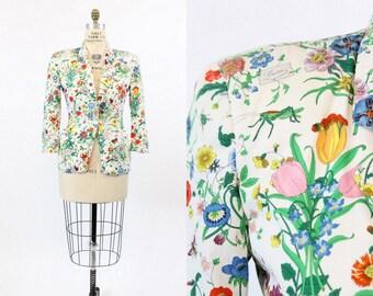 80s Gucci Blazer Medium / 1980s Vintage Flora Print Cotton / Street Style Jacket