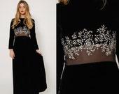 Vintage 60s VELVET Evening Gown Elinor Simmons for MALCOLM STARR  Rhinestone Maxi Dress Formal Dress