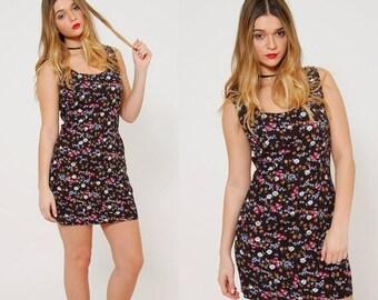 ON SALE Vintage 90s FLORAL Mini Dress Soft Grunge Shift Dress Ditzy Floral Mini Dress Indie Hipster Dress