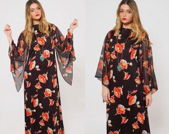 Vintage 70s BELL SLEEVE Maxi Dress Black FLOWER Print Maxi Dress Boho Dress Printed  Hippie Dress