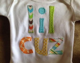 Lil Cuz appliquéd one piece bodysuit, little cousin applique, little cousin outfit, boy baby outfit