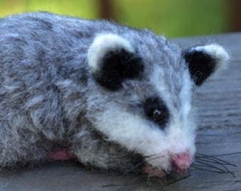 Small baby Opossum Woodland Animal Needle Felt Soft Sculpture Alpaca & Silk by Stevi T.
