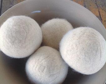Large Felted Wool Dryer Balls , Natural