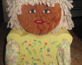 Wooden Shelf Sitter Doll