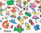 Highlights for Children Magazine Stickers Colorful Cute Animals 2 Sheet lot 1980s 1990s