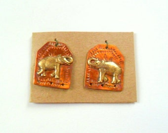 Artisan Elephant Copper and Brass Charm Findings Pair