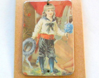 Victorian Child Pendant Finding in Reclaimed Tin