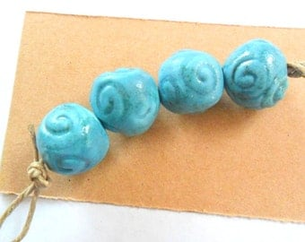 Turquoise Glazed Large 14-15mm Round Kiln Fired Beads, Set of 4
