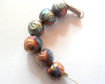 13-14mm Round Raku Fired Clay Beads - Set of 6