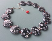 Black White Red Silver Large Round Coin Beaded Gifts Chunky Statement Necklace