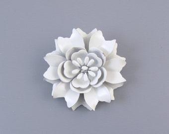 Vintage white painted enamel metal dimensional floral brooch pin