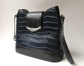 Brighton vintage Black and Navy Blue Crocodile Embossed Leather Bucket Bag