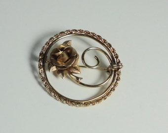 Vintage  Circle with Rose 12K gold filled Brooch.