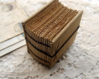 Cube - Hand Bound Miniature Book, Vintage Cotton, Aged Watercolour Paper - OOAK