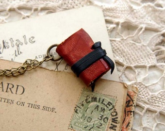 Miniature Wearable Book, Red Vintage Leather, Tea-Stained Pages, OOAK