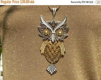 50% OFF Vintage Owl Huge Necklace Articulated Pendant