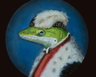 Green Lizard, Feather Cap, Regal Attire, Imaginary, Renaissance, Realism, Original Painting by Clair Hartmann