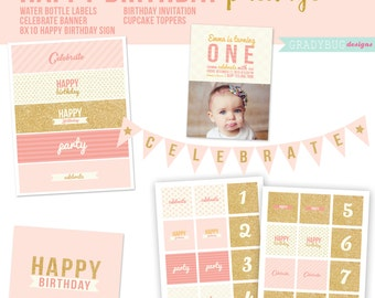 Birthday Package, Birthday Invitation, Cupcake Toppers, Water Bottle Labels, Birthday Print, Birthday Banner, Coral, Pink, Gold,