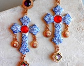 Portugal Blue Azulejo Tile CROSS Earrings, Replicas from the AVEIRO Santa Joana Convent 1458, Majolica Baroque Cross Christ Christian