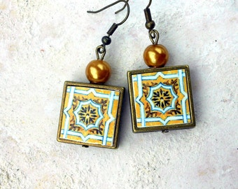Portugal Antique Azulejo Tile Replica Earrings FRAMED - from BRAGA  Brown Tan (see actual Facade photo) 723 F