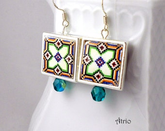 Portugal Antique Azulejo Tile Replica Earrings SILVER FRAMED - Geometric - - Reversible and water resistant 680