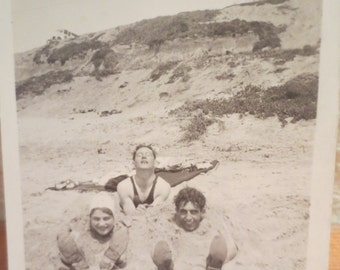 Vintage Photo 1920s Friends Playing at the Beach Boys Beach having fun Buried in the Sand! americana history