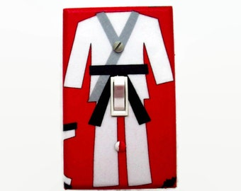 Karate Light Switch Cover - Martial Arts Switch Plate Cover - Boys Bedroom Decor - Switch Plate - Girls Room - Black Belt Switchplate