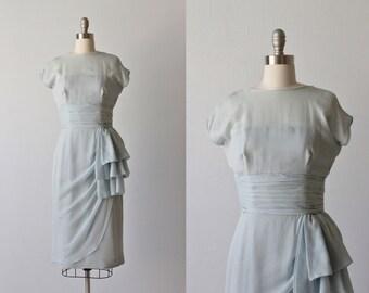 Vintage Powder Blue Silk Formal Evening Dress / 1960s Dress / Wiggle Dress / Winsome