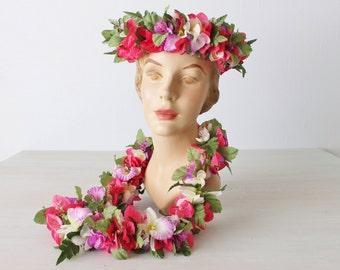 Vintage Hawaiian Lei Set / Adjustable Floral Crown / Pink Purple White