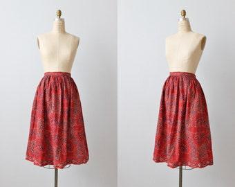 Vintage 1960s Skirt / 60s Skirt / Swing Skirt / Novelty Print Skirt / Ethnic Print Cotton Skirt
