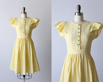 Vintage 1940s Yellow Eyelet Cotton Dress / 40s Dress / Size Small