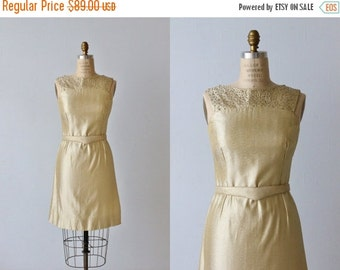 SALE Gold Lame 1960s Wiggle Dress / Sheath Dress / Belted / Galaxies