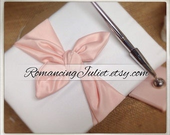 Knottie Style Satin Guest Book...You Choose The Colors..Shown in ivory/coral peach