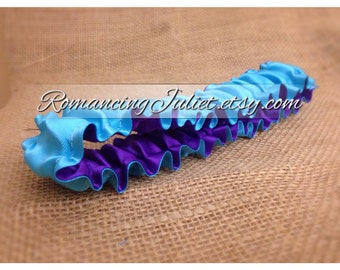 The Original Fully Reversible Bridal Garter..You Choose The Colors..shown in turquoise/royal purple